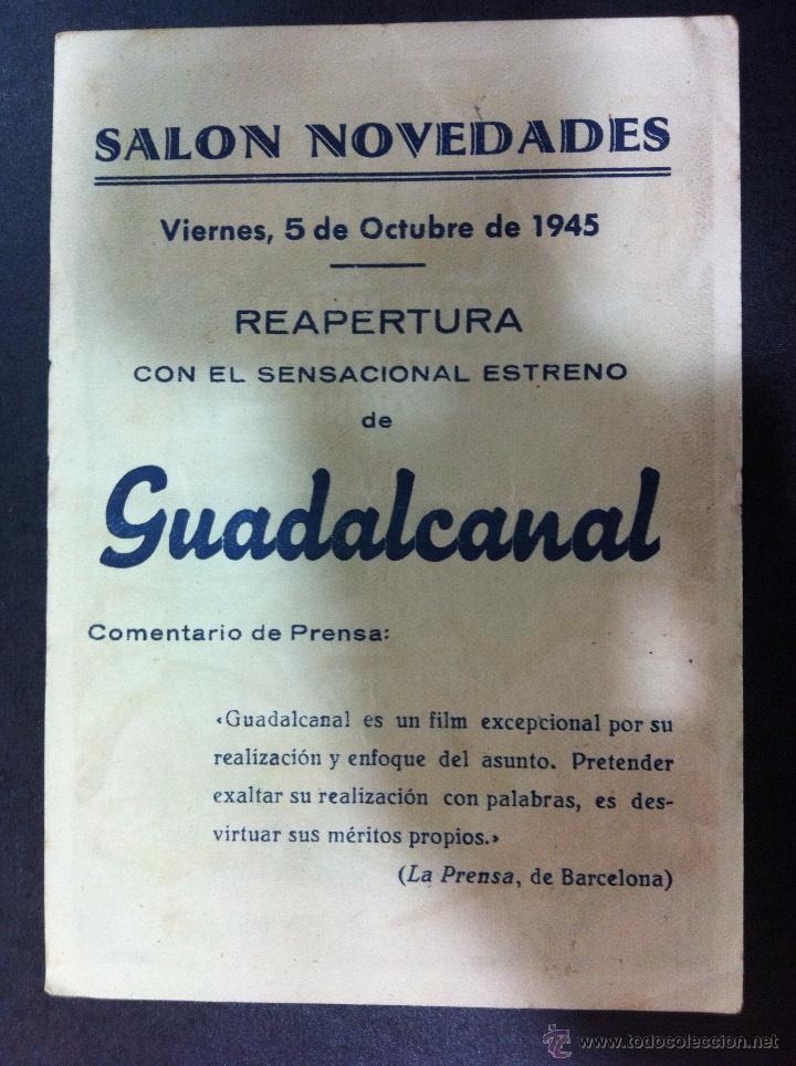Cine: GUADALCANAL - SENCILLO FOX -SALON NOVEDADES 1945 - Foto 2 - 51434538