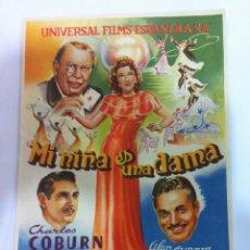 Cine: LA NIÑA ES UNA DAMA FOLLETO DE MANO. Lote 51479800