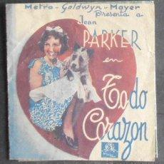 Folhetos de mão de filmes antigos de cinema: TODO CORAZON,FOLLETO DE MANO,(11069),CONSERVACION,VER FOTOS. Lote 51508424