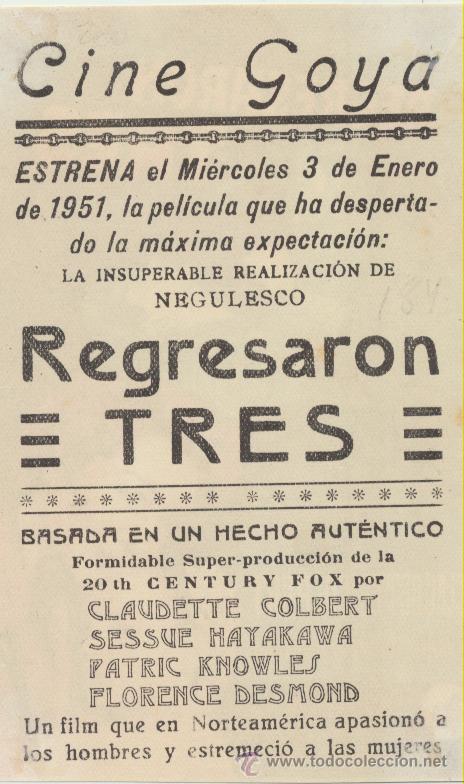 Cine: Regresaron tres. Soligó. Sencillo de 20Th Century. Cine Goya 1951. - Foto 2 - 51549486
