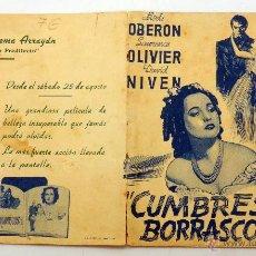 Cine: CUMBRES BORRASCOSAS PROGRAMA MANO DOBLE MERLE OBERON LAURENCE OLIVIER GRAN CINEMA ARRAYAN. Lote 51561492