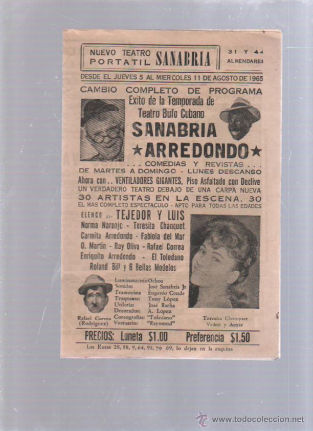 PROGRAMA TEATRO. TEATRO PORTATIL (CIRCO). SANABRIA. 11 AGOSTO 1965. CUBA. ARREDONDO EN LA LUNA. LEER (Cine - Folletos de Mano - Comedia)