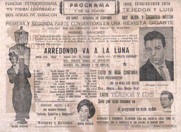 Cine: PROGRAMA TEATRO. TEATRO PORTATIL (CIRCO). SANABRIA. 11 AGOSTO 1965. CUBA. ARREDONDO EN LA LUNA. LEER - Foto 3 - 51573272