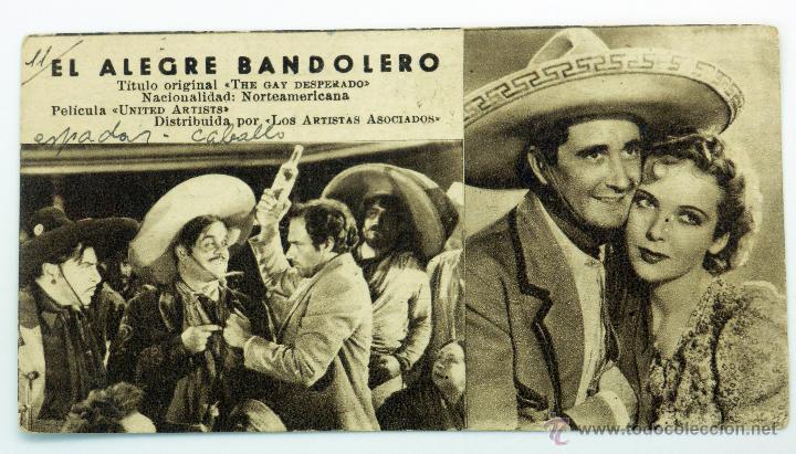 EL ALEGRE BANDOLERO PROGRAMA MANO FICHA PELÍCULA THE GAY DESPERADO SIN PUBLICIDAD (Cine - Folletos de Mano - Westerns)