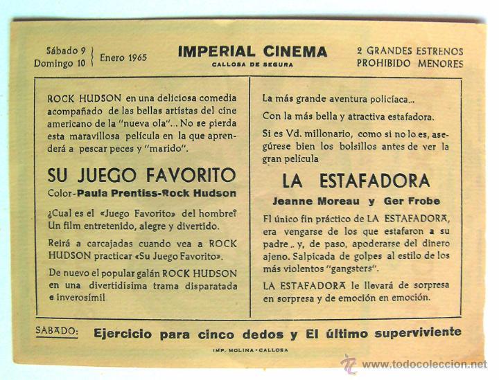 Cine: cine Imperial Cinema programa de mano Su juego favorito rock Hudson callosa de Segura Alicante, ver - Foto 2 - 51629314