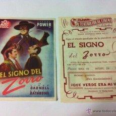Cine: DOS PROGRAMAS.EL SIGNO DEL ZORRO.TEATRO IDEAL CINEMA CALAHORRA.. Lote 51646953
