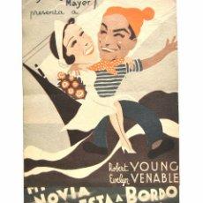 Cine: PROGRAMA DOBLE *MI NOVIA ESTÁ A BORDO* ROBERT YOUNG EVELYN VENABLE. TEATRO CERVANTES POLA DE SIERO. Lote 51649988