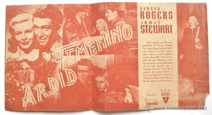 Cine: PROGRAMA DOBLE *ARDID FEMENINO* 1941 GINGER ROGERS JAMES STEWART. COLISEUM ZAMORA - Foto 2 - 51650076