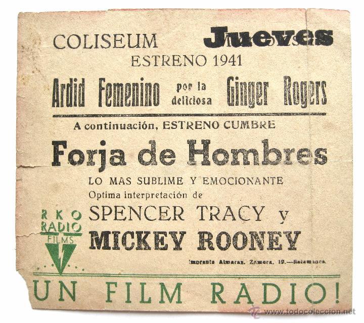 Cine: PROGRAMA DOBLE *ARDID FEMENINO* 1941 GINGER ROGERS JAMES STEWART. COLISEUM ZAMORA - Foto 3 - 51650076