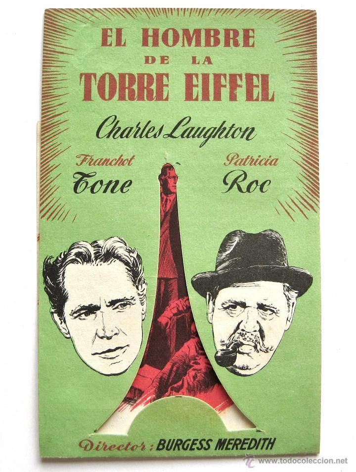 PROGRAMA DOBLE TROQUELADO *EL HOMBRE DE LA TORRE EIFFEL* CHARLES LAUGHTON FRANCHOT TONE. CINE GULLÓN (Cine - Folletos de Mano - Suspense)