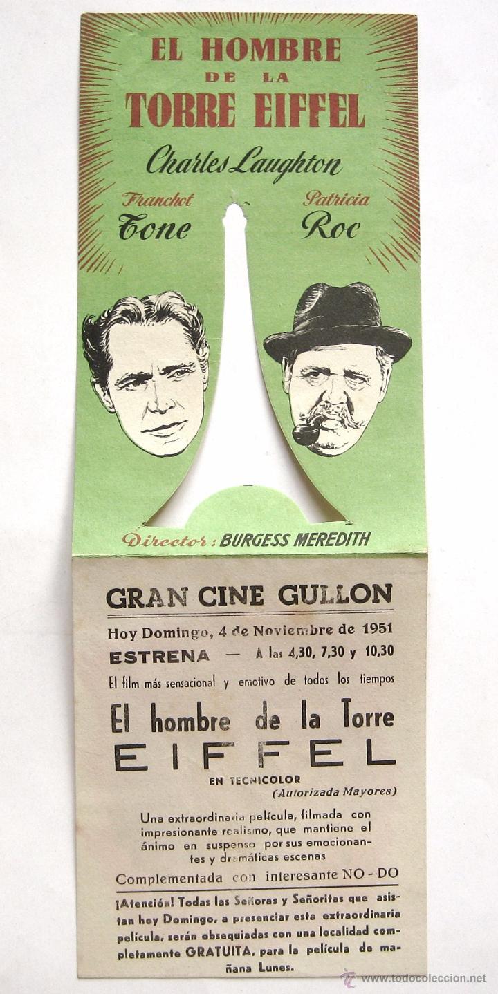 Cine: PROGRAMA DOBLE TROQUELADO *EL HOMBRE DE LA TORRE EIFFEL* CHARLES LAUGHTON FRANCHOT TONE. CINE GULLÓN - Foto 3 - 51651982