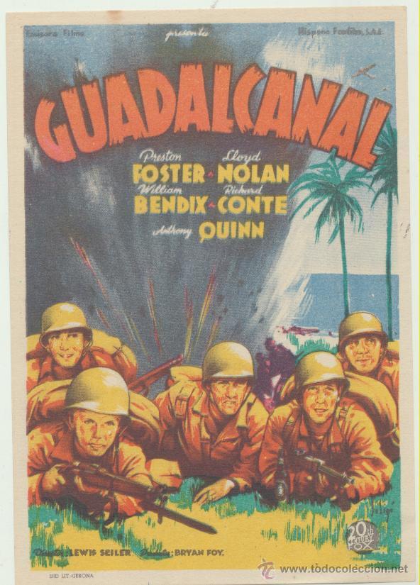 GUADALCANAL. SOLIGÓ. SENCILLO DE 20TH CENTURY FOX. (Cine - Folletos de Mano - Bélicas)