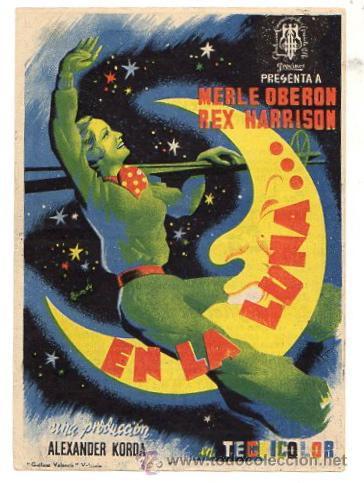 FOLLETO MANO EN LA LUNA. MERLE OBERON Y REX HARRISON. AÑO 1944 (Cine - Folletos de Mano - Drama)