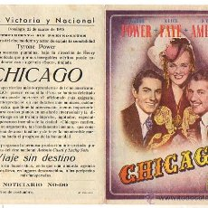Flyers Publicitaires de films Anciens: FOLLETO MANO DOBLE CHICAGO. TYRONE POWER-ALICE FAYE-DON AMECHE. AÑO 1945. Lote 51671934