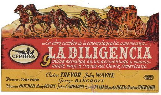 FOLLETO MANO TROQUELADO LA DILIGENCIA. CON JOHN WAYNE Y CLAIRE TREVOR. FILM DE JOHN FORD (Cine - Folletos de Mano - Westerns)
