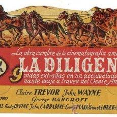 Cine: FOLLETO MANO TROQUELADO LA DILIGENCIA. CON JOHN WAYNE Y CLAIRE TREVOR. FILM DE JOHN FORD. Lote 51672512