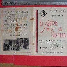 Cine: FOLLETO DE MANO DOBLE - EL SABOR DE LA GLORIA - 1932. Lote 51804558
