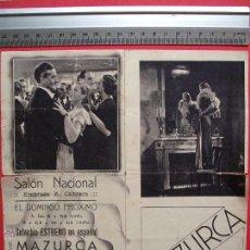 Cine: FOLLETO DE MANO DOBLE - MAZURCA - 1936. Lote 51814372