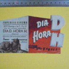 Cine: FOLLETO DE MANO DOBLE TROQUELADO- DIA D HORA H- 1955. Lote 51815059