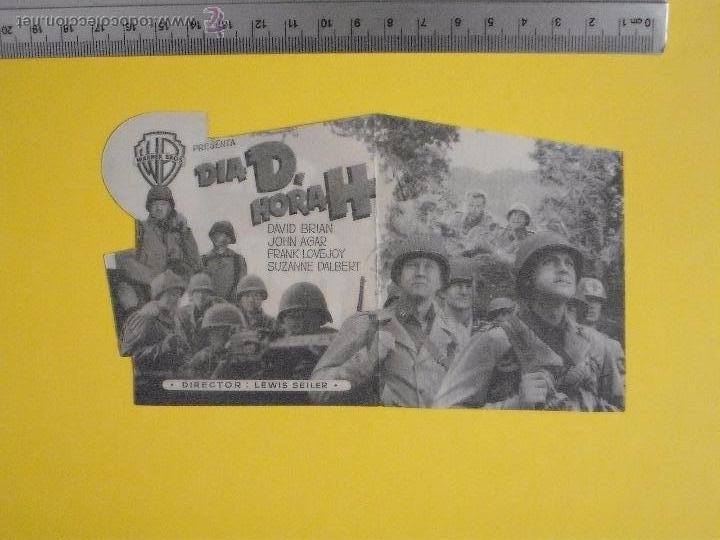 Cine: FOLLETO DE MANO DOBLE TROQUELADO- DIA D HORA H- 1955 - Foto 2 - 51815059