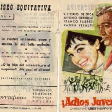 Cine: FOLLETO DE MANO. ADIOS JUVENTUD. CINE COLISEO EQUITATIVA. Lote 56702987