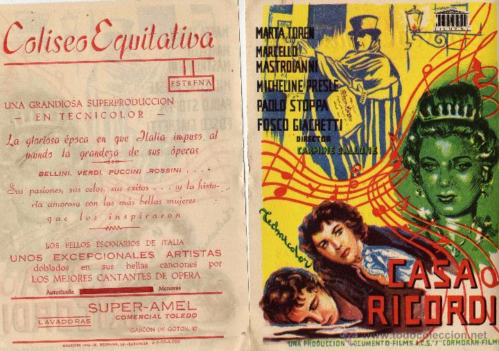 FOLLETO DE MANO CASA RICORDI. CINE COLISEO EQUITATIVA ZARAGOZA (Cine - Folletos de Mano - Aventura)