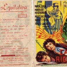 Cine: FOLLETO DE MANO CASA RICORDI. CINE COLISEO EQUITATIVA ZARAGOZA. Lote 52148283