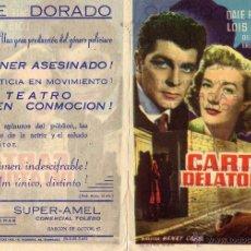 Cine: CARTA DELATORA. FOLLETO DE MANO CINE DORADO ZARAGOZA. Lote 172711518