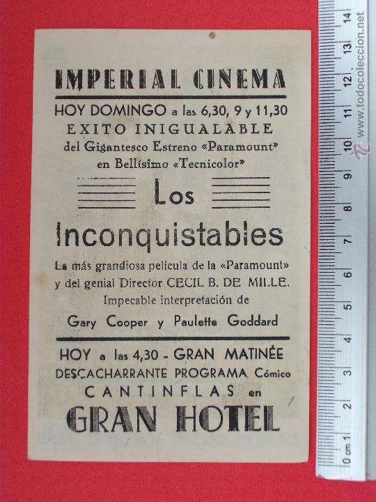 Cine: FOLLETO DE CINE - LOS INCONQUISTABLES - 1952 - Foto 2 - 51885140