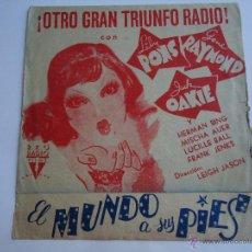 Cine: EL MUNDO A SUS PIES. LILY PONS, GENE RAYMOND,JACK OAKIE. DOBLE GRANDE 23X12.C/P. CINEMA GOYA.ALB. Lote 51890678