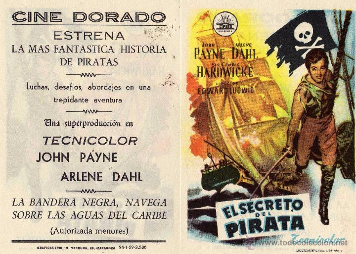EL SECRETO DEL PIRATA. FOLLETO DE MANO CINE DORADO ZARAGOZA (Cine - Folletos de Mano - Acción)