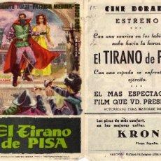 Cine: EL TIRANO DE PISA. FOLLETO DE MANO. CINE DORADO ZARAGOZA. Lote 51921755