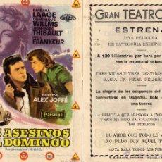 Cine: LOS ASESINOS DEL DOMINGO. FOLLETO DE MANO. TEATRO IRIS ZARAGOZA. Lote 51923419