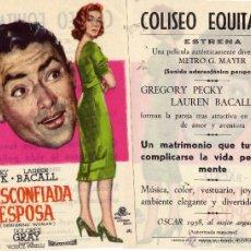 Cine: MI DESCONFIADA ESPOSA. FOLLETO DE MANO. COLISEO EQUITATIVA ZARAGOZA. Lote 56054402