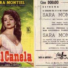Cine: PIEL CANELA FOLLETO DE MANO CON SARA MONTIEL. CINE DORADO ZARAGOZA. Lote 179028192
