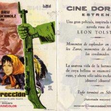 Cine: RESURRECCION. FOLLETO DE MANO CINE DORADO ZARAGOZA. Lote 72073527
