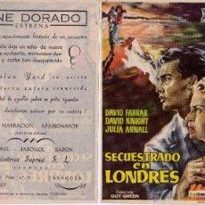 Cine: SECUESTRADO EN LONDRES. FOLLETO DE MANO CINE DORADO ZARAGOZA. Lote 53062893
