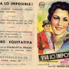 Cine: VIVA LO IMPOSIBLE. FOLLETO DE MANO COLISEO EQUITATIVA ZARAGOZA. Lote 215826367