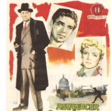 Foglietti di film di film antichi di cinema: CINE GADES (CÁDIZ) GRANDIOSO ESTRENO 20-1-1959 AMANECER INCIERTO - DIRECTOR VAL GUEST. Lote 51927079