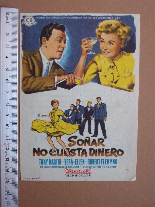 FOLLETO DE CINE -SOÑAR NO CUESTA DINERO -1959 (Cine - Folletos de Mano - Comedia)