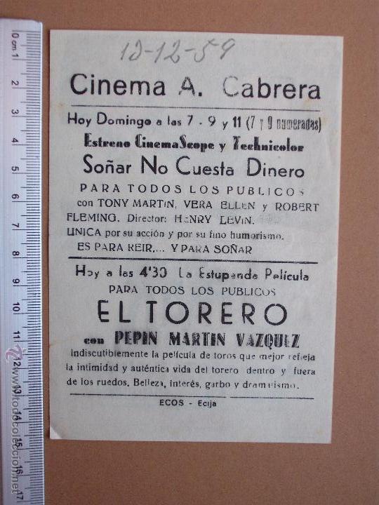 Cine: FOLLETO DE CINE -SOÑAR NO CUESTA DINERO -1959 - Foto 2 - 51927379