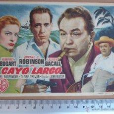 Cine: FOLLETO DE CINE - CAYO LARGO- 1952. Lote 51931750
