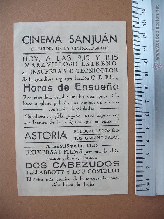 Cine: FOLLETO DE CINE -HORAS DE ENSUEÑO - 1951 - Foto 2 - 51933854