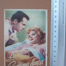 Cine: FOLLETO DE MANO - SU ULTIMA DANZA - 1947- !BUENISIMO¡. Lote 51968327