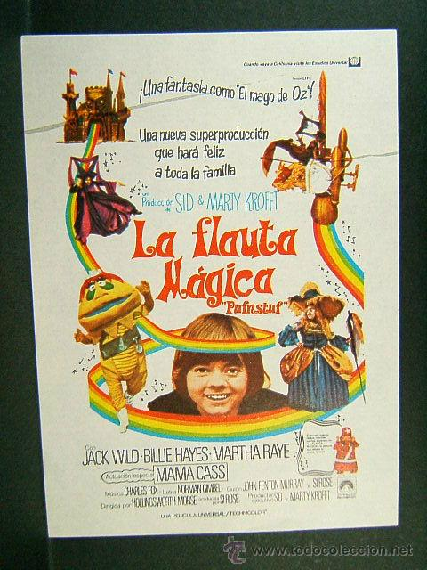 LA FLAUTA MAGICA-HOLLINGSWORTH MORSE-JACK WILD-BILLIE HAYES-MARTHA RAYE-MAMA CASS-(1970) (Cine - Folletos de Mano - Infantil)