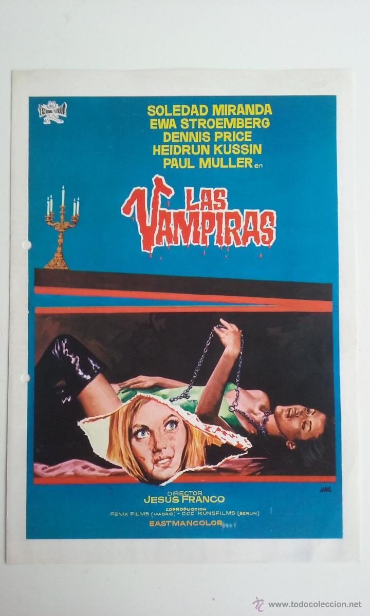 GUIA/CARTEL DE CINE TERROR/LAS VAMPIRAS-JESUS FRANCO. (Cine - Folletos de Mano - Terror)