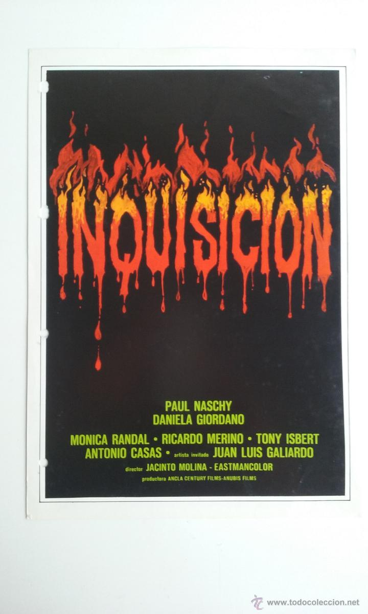 GUIA/CARTEL DE CINE DE TERROR/INQUISICION-PAUL NASCHY. (Cine - Folletos de Mano - Terror)
