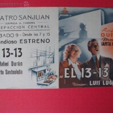 Cine: EL 13-13 - 1952. Lote 52142060