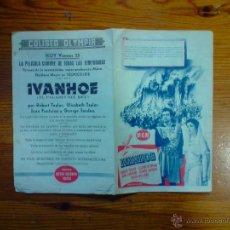 Cine: IVANHOE, FOLLETO DÍPTICO DE 1952. ROBERT TAYLOR, ELIZABETH TAYLOR. CINE OLYMPIA GRANADA. Lote 52278755