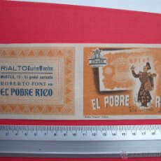 Cine: EL POBRE RICO- 1943. Lote 52304323